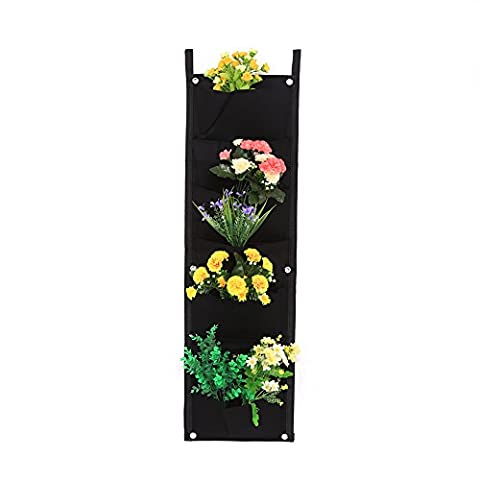 Vertical Wall Garden Planter 7/12/16/18 Pockets Wall-mounted Plant Grow Container Bags Living Felt Wall Hanging Planter For Indoor Outdoor, Black ( Size : 7-Pocket