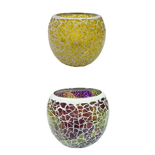LOVIVER Conjuntos Surtidos Mosaico Copa De Cristal Candelabro Candelero Votive Tealight Candelero Lámparas Decorativas De Velas - 2pcs C + E, Individual