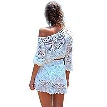 Malloom®mujer ahuecar blanco encaje falda de la playa vestidos de fiesta con la correa (1)