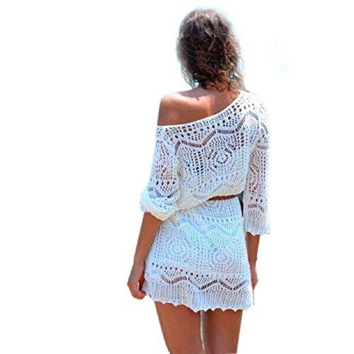 Malloom®mujer ahuecar blanco encaje falda de la playa vestidos de fiesta con la correa (4)