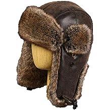 Hombres Russhian Ushanka Vintage Bomber Sombreros Cuero de LA PU Máscara de  la Motocicleta de Invierno 80070b20d6c