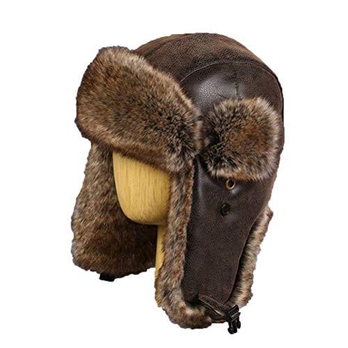 48585b7b Hombres Russhian Ushanka Vintage Bomber Sombreros Cuero de LA PU Máscara de  la Motocicleta de Invierno