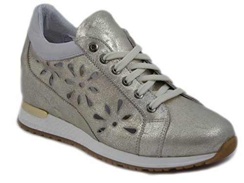 Exton, scarpe casual sneaker donna in pelle oro platino, zeppa interna 4 cm, 1948