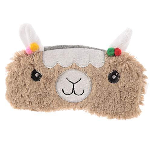 Objektkult Lama Plüsch Schlafmaske, braun, Augenmaske, Maße: 8 x 18 cm, 100% Polyester-Plüsch, niedliche Schlafbrille für Reisen oder einen erholsamen Schlaf zu - Niedliche Kostüm Zu Hause