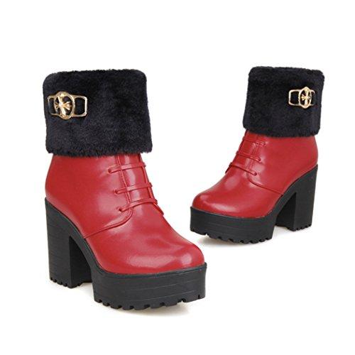 ZQ@QXregalo di Natale L Europa e gli Stati Uniti codice cashmere imitazione di flangiatura tirante anteriore stivali impermeabili con spessi scarponi gules