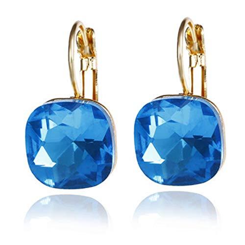 Presock Pendientes Mujer,Aretes New Austrian Crystal Earrings Pink Champagne CZ Rhinestone Drop Earrings Women Statement Jewelry Wholesale Lanse