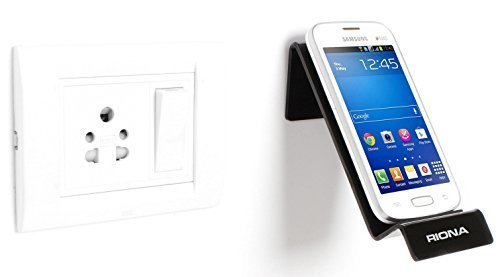 Riona Bathroom/Kitchen Wall Mobile Holder/Stand - MobiHold A7S Black