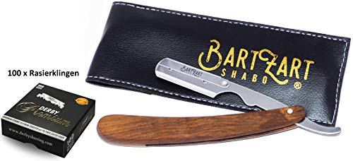 BartZart Rasiermesser mit Wechselklinge-n   Rasiermesser Set mit Holzgriff, Derby Rasierklingen und schwarzem Etui   bestens geeignet für Barber, Friseur & Anfänger