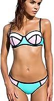 TDOLAH Damen Bunt Neoprene Bikini-Set Basketball Push up Bademode