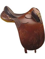 Sillín Modelo Australiano, cuero INGRASSATO, completa de cincha, estribos, estribos, sassinga.se00250, marrón
