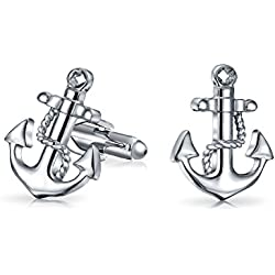 Bling Jewelry chapados en rodio Vintage Mens surtida náutica gemelos ancla Set