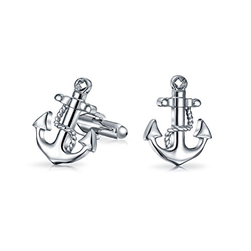Bling Jewelry Mouillage Nautique Marin Plaisancier Chemise Boutons De Manchette pour Homme Charnière Acier Laiton Couleur Argenté