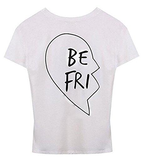 *JWBBU Damen Best Friend T-shirt Sommer Baumwolle Oberteil mit dem Aufdruck S-3XL 1Stück (S, Weiß-BE)*