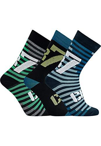 CR7 Cristiano Ronaldo - BOYS - Socken für Jungen - 3-Pack - Streifen/Mehrfarbig - Grösse 40-43 (CR7-JBS-8470-80-463-40/43)
