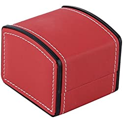 Leather Watch Box with Pillow Watch Packaging For Bangle Earring Wrist Watch Box-Red