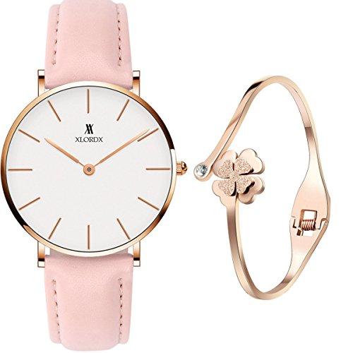 XLORDX Classic Damen Armbanduhr Analog Quarz Rosa Leder Armband, Weiß Zifferblatt mit Elegant Rosegold Armband