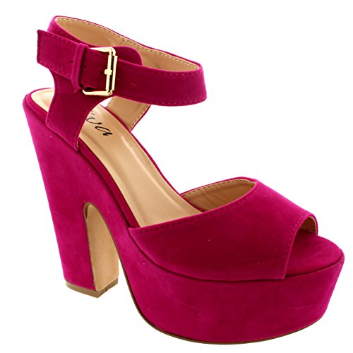 Mujer Correa Tobillo Zapatos Plataforma Tacones Faux Gamuza Sandalias - Rosa Claro - 39