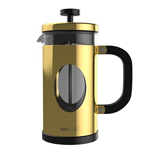 bonVIVO® GAZETARO I Design-Kaffeebereiter Und French Press Coffee Maker In Gold-Optik, Kaffee-Kanne Aus Glas Mit Edelstahl-Rahmen, Kaffee-Presse Mit Edelstahl-Filter, groß, 1l / 1000ml (8 Tassen)