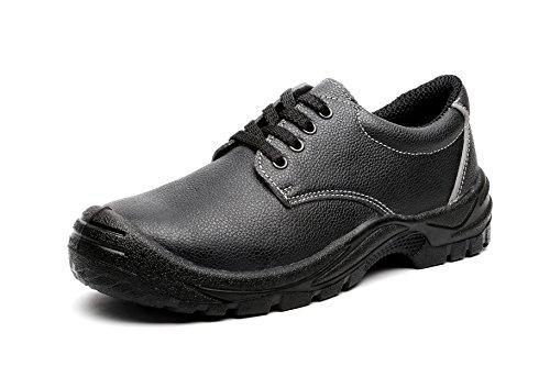 Herren Stahl Zehe Stahl Platte Leder Durable SCHWARZ Arbeit Schuh JACKBAGGIO 8804 (9 UK / 43 EU, schwarz) (Boot Zehen-sandale)