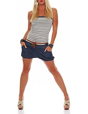 malito corto Jumpsuit en el marina Diseño Body Catsuit Playsuit Casual 9646 Mujer Talla Única