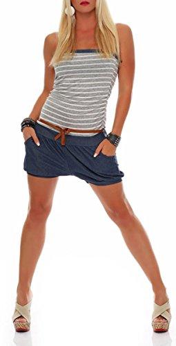 malito court Jumpsuit dans le marine Design Romper Body Catsuit Party Salopette 9646 Femme Taille Unique Gris