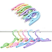 Red Simi 10pcs Portable Folding Plastic Clothes Hangers Racks for Outdoor Camping Travel (Random Color)