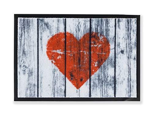 Bavaria Home Style Collection Motiv Fußmatte Fussmatte Antirutschmatte Schmutzfangmatte Fußmatten - Verschiedene Design Motive - Sprüche Witzig Schön - waschbar bis 30°C - Größe 40 x 60 cm (Herz Rot)