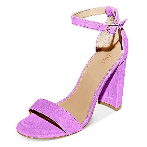 SHOFOO - Femmes - Escarpins - Cuir de daim synthétique - Bride de cheville - Rose ou Violet ou Bleu - Talon bloc - Bout rond ouvert Violet