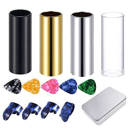 Gitarren-Slides, Set mit 4 mittelgroßen Gitarren-Slides (inklusive 3 Farben, Edelstahl, 1 Glas), 5 Gitarrenplektren (Ramdonfarben) und 4 Kunststoff-Daumen- und Finger-Plektren in Metallbox