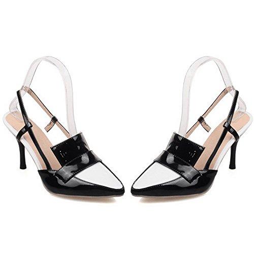 VogueZone009 Damen Lackleder Schließen Zehe Stiletto Ziehen Auf Gemischte Farbe Sandalen Schwarz