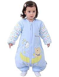 Mallalah Saco de Dormir con Pies para Bebé Durmiendo Cómodo Desmontable Manga Historieta Diseño Algodón Recién Nacido 3-48 Meses