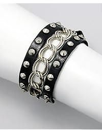 BrendaStyle Bijoux Bracelet Pour Femme En cuir Noir Et Acier Rhodié - 15cm-20cm - Réglable