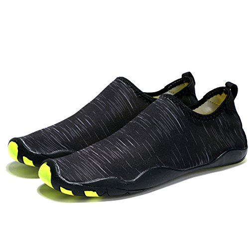 Laiwodun Männer  Frauen Wasser Schuhe Barefoot Quick Dry Aqua Schuhe Leichte Swim Taucher Schuhe Mesh Slip auf wasserdichte Schuhe Sommer Strand Badeschuhe, 42 EU, Schwarz Wasser-schuhe Für Die Jugend Jungen