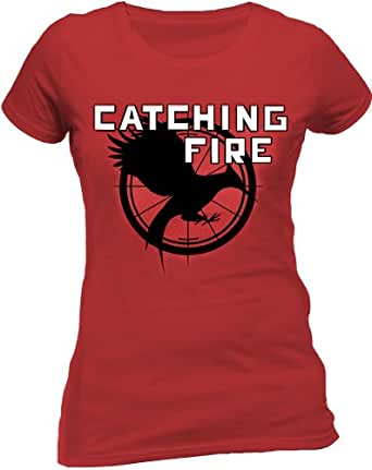 The Hunger Games Women's - Catching Fire Logo Short Sleeve T-Shirt, Red, Size 14 (Manufacturer Size:X-Large)