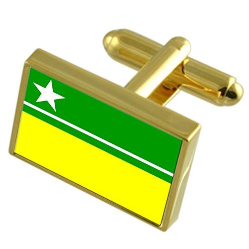 Boa Vista Stadt Brasilien Gold Manschettenknöpfe graviert Box (Bekleidung Boa)