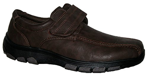 Coussin pour homme Walk léger, Casual Chaussures, antidérapant sur et sangle barre velcro brown velcro