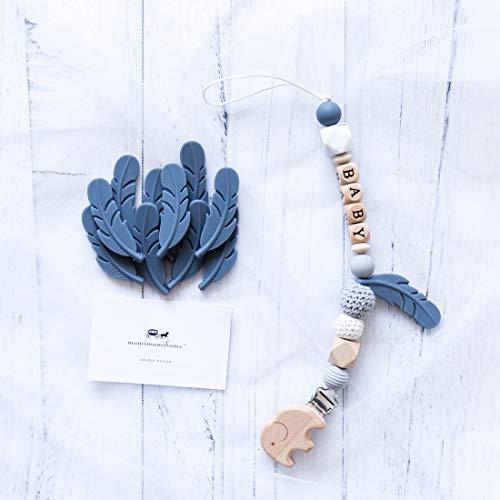 Mamimami Home 1pc Baby Silikon Beißring grau Schnuller Kette Clip Kauen Perlen handgefertigte Dusche Geschenk - Schnuller-clip Kauen