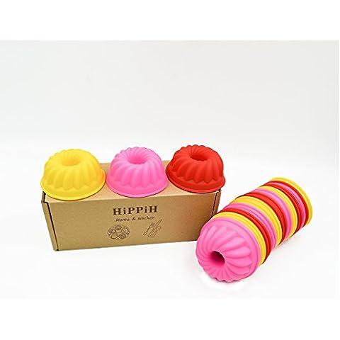 Hippih 24Mini Orso in silicone riutilizzabile Cupcake e Pirottini per