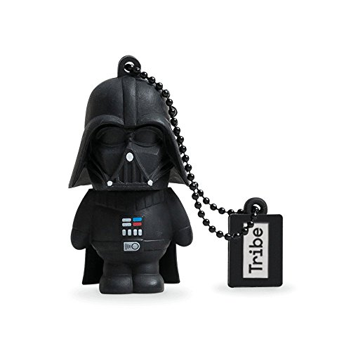 Tribe Disney Star Wars Darth Vader - Memoria USB 2.0 de 16 GB Pendrive Flash Drive de Goma con Llavero, Color Negro
