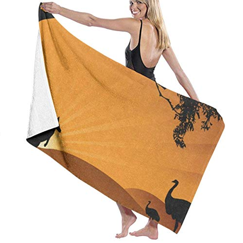 Beach Bath Towel Ostrich and Kangaroo Silhouette Personalized Custom Women Men Quick Dry Lightweight Beach & Bath Blanket Great for Beach Trips, Pool, Swimming and Camping 31
