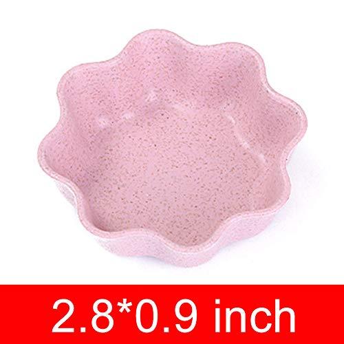 Mini Wheat Straw Club Relish Teller, für Essiggurken Sauce Küchenzubehör Blume rosa Blume-sauce
