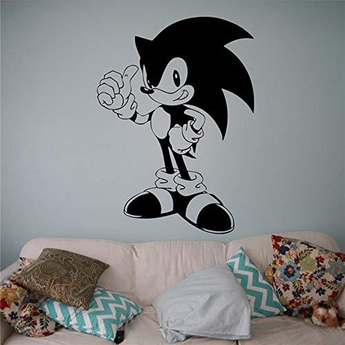 Waofe Sonic Vinyl Aufkleber Sonic Hedgehog Wand Vinyl Aufkleber Videospiel Cartoons Home Interior Kinder Kinderzimmer Dekor 57 * 79Cm