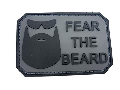 Parche Fear The Beard Negra Gris PVC Paintball Airsoft