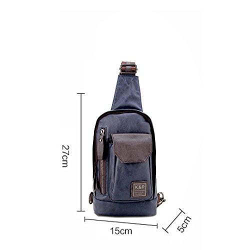 Wewod Sling Bag Rucksack Brusttasche Trekkingrucksack Daypack Fahrradrucksack Sportrucksack Schultasche Umhängetasche Schultertasche Crossbody Bag (Schwarz) Blau