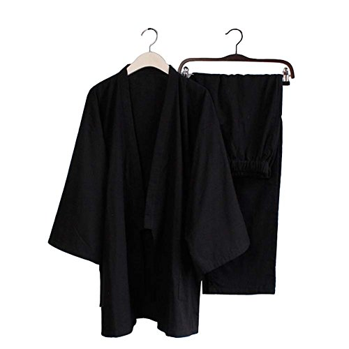 Blancho Pyjamas Mens Kimono Suit Survêtement en Vrac Coton Respirant Double Gauze