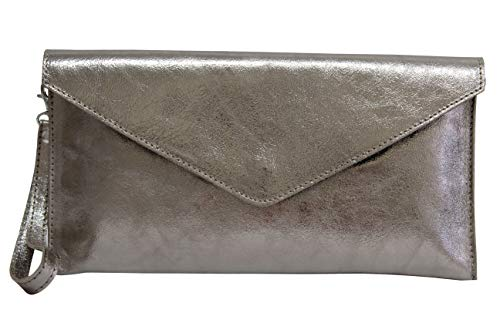 AmbraModa Damen Clutch Handschlaufe Damentasche aus Leder in Metallic-Farben M801, Champagne ( Light Gold ),