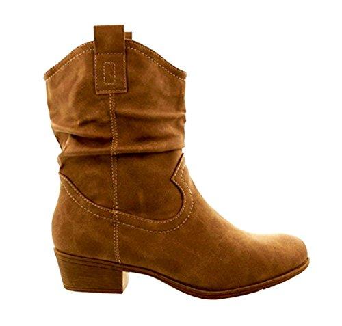 Damen Stiefeletten Cowboy Western Stiefel Boots Schlupfstiefel Schuhe 36 (38, Camel)