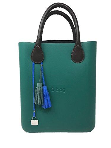 O chic verde + manici corti ecopelle martellata marrone + sacca cotone nero + charms doppia nappina blu