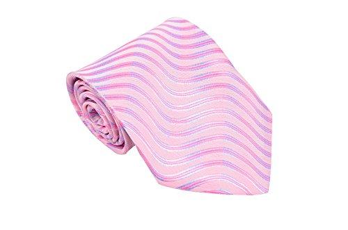 Match molto Stripe Woven cravatta per uomo, 8colori disponibili, Rosa, Blu scuro Pink Taglia unica