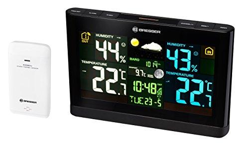 Bresser Wetterstation Funk mit Außensensor Meteo THBM Colour mit großem Farbdisplay und Außensensor für die Ermittlung von Temperatur, Luftfeuchtigkeit, Wettertrend und Luftdruck